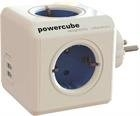 PowerCube Original virtapaneeli, 4 pistorasiaa, 2x USB, sininen