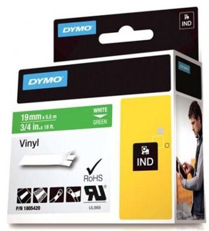 DYMO Rhino Professional, 19mm, merkkausteippi, valk.teksti vihr.teip - DYMO - kuva 1
