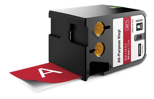 DYMO XTL Monikäyttöinen vinyylitarra, 54mm, valk. teksti punai. tausta - DYMO - kuva 1