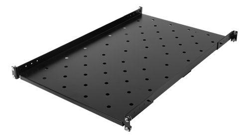 """TOTEN System G kiinteä hylly 19""""räkkiin, 1000/1200 mm, 100kg, musta - TOTEN - kuva 1"""