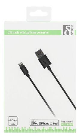 DELTACO USB-synk-/latauskaapeli, iPad, iPhone, iPod, MFi, musta - DELTACO - kuva 2