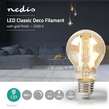 Classic deco a60 e27 5 w 380 lm 2 500 k - Nedis - kuva 2