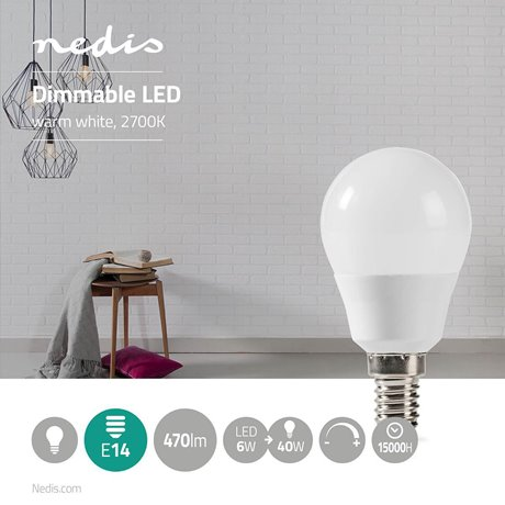 Himmennettävä led-lamppu e14 g45 6 w 470 lm - Nedis - kuva 2