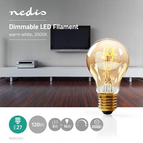 Himmennettävä led-vintagehehkulamppu e27 a60 3 w 100 lm - Nedis - kuva 2