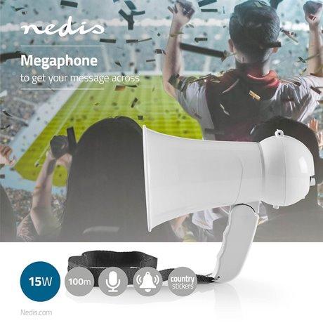 Megafoni 15 w kantama 100 m sisäänrakennettu mikrofoni valkoinen - Nedis - kuva 2