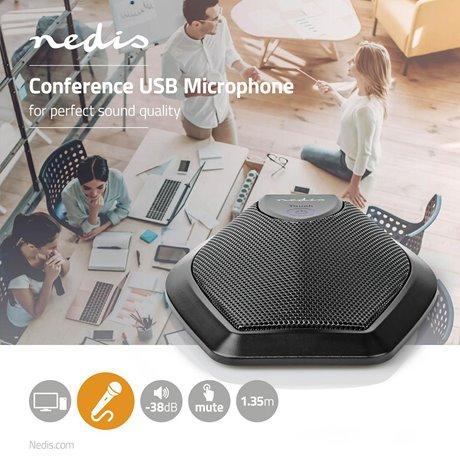 Johdollinen mikrofoni konferenssi mykistyspainike usb - Nedis - kuva 2