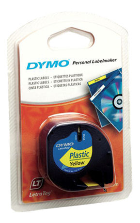 DYMO LetraTAG plasttejp, gul, 12mm, 4m (91222) - DYMO - kuva 2