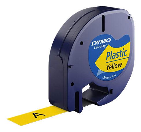 DYMO LetraTAG plasttejp, gul, 12mm, 4m (91222) - DYMO - kuva 1