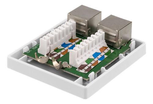 DELTACO suojattu datarasia pinta-asennukseen, FTP, 2xRJ45, Cat6a, valk - DELTACO - kuva 3