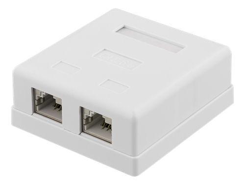 DELTACO suojattu datarasia pinta-asennukseen, FTP, 2xRJ45, Cat6a, valk - DELTACO - kuva 1