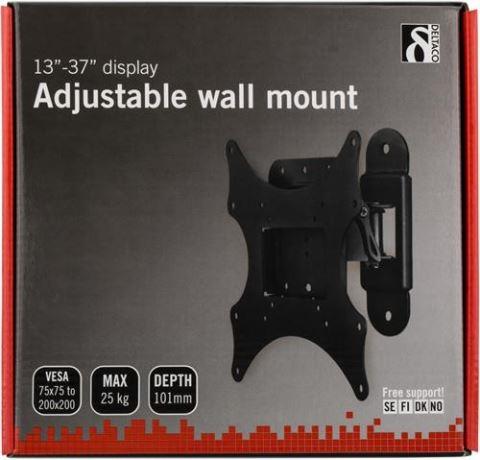 DELTACO seinäteline TV/näytölle, max 25kg, VESA 1 nivel pikakiinn - DELTACO - kuva 2