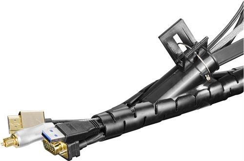 DELTACO Kaapelipiilo nylonista, 25mm halkaisija, 2,5m, musta - DELTACO - kuva 2
