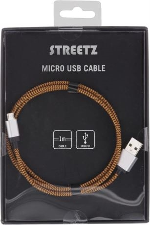 STREETZ USB-kaapeli, kangasp., Type A ur - Type Micro B, 1m, oranssi - STREETZ - kuva 2