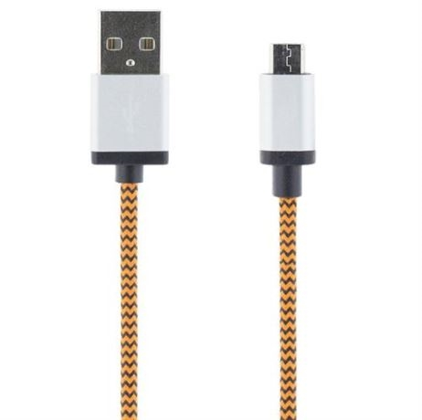 STREETZ USB-kaapeli, kangasp., Type A ur - Type Micro B, 1m, oranssi - STREETZ - kuva 1