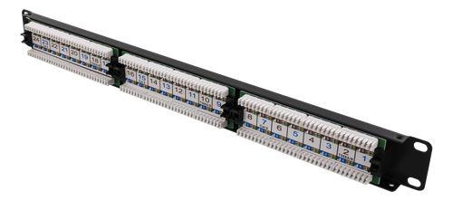 """UTP kytkentäpaneeli, 24xRJ45, Cat.6, Krone, 1U 19"""", metallia, musta - DELTACO - kuva 2"""