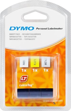 DYMO LetraTag muoviteippi, kelt/hopea/valk (1/väri), 12mm, 4m - 91241 - DYMO - kuva 1